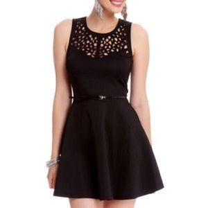 "2b Bebe ""Viktoria"" Black Laser Cutout Skater Dress"